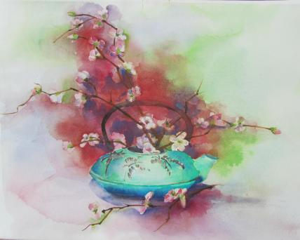 Cherry Blossoms in Teapot